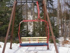 Latest Chairs For Living Room Ski Lift Chair, Ski Lodge Decor, Swinging Chair, Chair Swing, Black Leather Chair, Pub Chairs, Mountain Decor, Wayfair Living Room Chairs, Lake Cabins