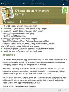 Weight watchers dill and mustard chicken burgers
