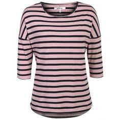 Women's Casual O-Neck 3/4 Batwing Sleeve Striped Loose Blouse Tops