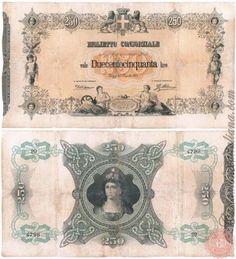 250 LIRE - 1874 Lus, Vintage World Maps, Houses, Memories, Blazer, History, Italian Lira, Money, Alphabet