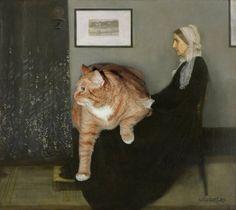 Dikke kat als muze voor beroemde schilderijen - 7