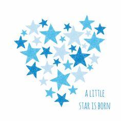 Blauw hart met sterren - Felicitatiekaarten - Kaartje2go