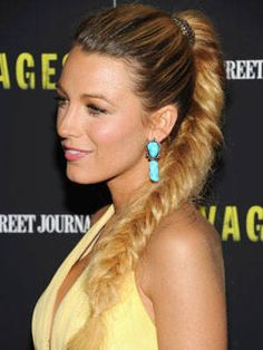 20 Cool Celebrity Braided Hairstyles: Blake Lively braided ponytail (a classic!)
