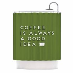 """Busy Bree """"Good Idea"""" Green Tyopgraphy Shower Curtain"""