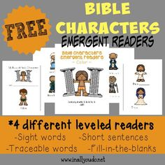 Kids will enjoy learning about more Bible Characters as they practice their reading with these Emergent Readers! 4 different levels :: www.inallyoudo.net