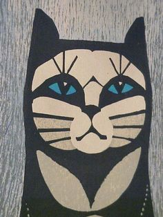 """Cat by Inagaki Tomoo Woodblock I Love Cats, Crazy Cats, Cool Cats, Jazz Cat, Oriental Cat, Cat Sketch, Animal Sketches, Cat Drawing, Japanese Art"