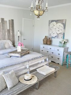 Welcome to Ideas of Shabby-Chic Beach House Retreat Bedroom article. In this post, you'll enjoy a picture of Shabby-Chic Beach House Retrea. Farmhouse Bedroom Furniture, Farmhouse Style Bedrooms, Shabby Chic Furniture, Farmhouse Chic, Urban Farmhouse, French Farmhouse, Farmhouse Ideas, Antique Farmhouse, Farmhouse Design