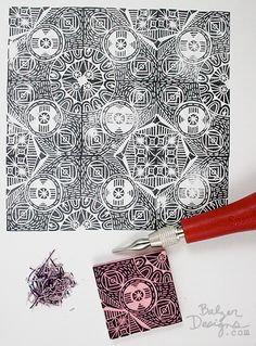 Stamp carving - repeat designs: http://balzerdesigns.typepad.com/balzer_designs/2014/05/another-repeating-stamp-some-advice.html