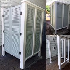 Outdoor Shower with Louvered Shutters for Vacation Home - Colas Driutti Outdoor Pool Bathroom, Outdoor Shower Enclosure, Outdoor Toilet, Outdoor Baths, Outdoor Rooms, Outdoor Living, Outside Showers, Outdoor Showers, Louvered Shutters