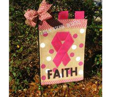Breast Cancer Awarness Garden Flag* Hope Garden Flag* Burlap Garden Flag* Pink Garden Flag* Pink Ribbon Garden Flag