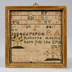 "Needlework Sampler ""Rebecca Adams,"""