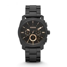 Shop FOSSIL Machine Mid-Size Chronograph Black Stainless Steel Watch / Water Resistant Analogue Men's Watch with Quartz movements - Stopwatch and Timer Functionality ✓ free delivery ✓ free returns on eligible orders. Herren Chronograph, Black Stainless Steel, Stainless Steel Watch, Fossil Watches For Men, Men's Watches, Casual Watches, Rotary Watches, Men Accessories, Men Watches
