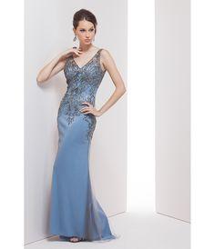 Preorder - Mignon VM35308 Slate Blue Sexy Embellished Long Dress 2016 Prom Dresses $378.00 AT vintagedancer.com