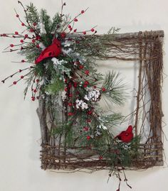 Square Twig Wreath Cardinal Wreath Winter by CrookedTreeCreation