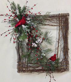 Square Twig Wreath Cardinal Wreath Winter by CrookedTreeCreation