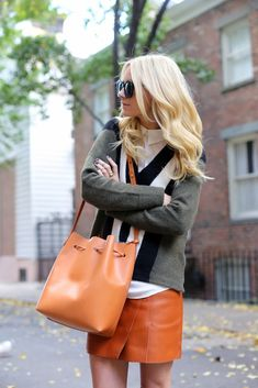 sweater + mini skirt