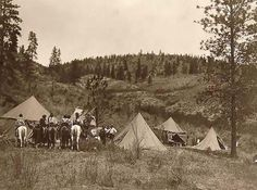 1910 Photo Author's camp among the Spokan Five tents erected in a clearing, Edward S. Curtis in center, Spokane men and women on horseback on the left. Native American Photos, Native American Tribes, Native American History, Indian Tribes, Native Indian, Spokane Tribe, Spokane Indians, American Traditional, Old Pictures