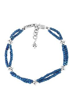 Blue Square Hematite Double Strand Bracelet with MB Crosses