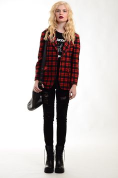 punk rock style tartan blazer http://stores.ebay.co.uk/electricskinnyvintage