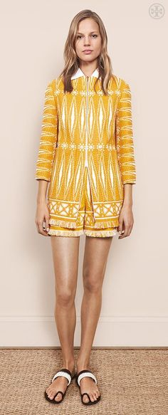 The Spring Tweed: A sunny color, lightweight texture and artfully frayed fringe | Tory Burch Spring 2015
