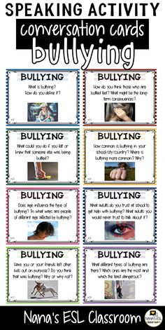 Ignite conversation in your classroom with these engaging conversation starter cards about bullying. A total of 40 cards with one or more questions per card. English Language Learning, Teaching English, Teaching Spanish, Education English, German Language, Japanese Language, Spanish Language, French Language, English Vocabulary Words