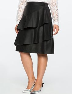 Studio Faux Leather Tiered Skirt from eloquii.com