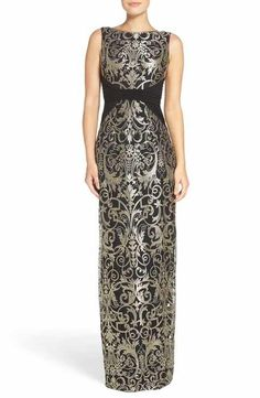 bac29efd9f8ec Adrianna Papell Embroidered Jersey Column Gown Mob Dresses, Formal Dresses  For Women, Bridesmaid Dresses