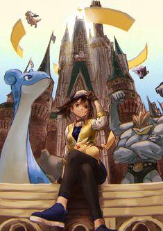 Pokemon Go - Female Protagonist with Dragonite, Lapras, Pikachu, Machamp, and Gengar