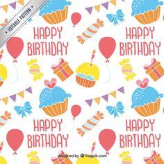 Patrón de cumpleaños feliz colorido Vector Gratis