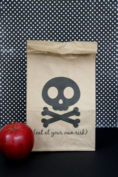 Sending my kids' lunches in paper bags, just cuz I want to try this out!   FREE printable Halloween lunch bag {it is what it is} cute for a pirate party too!