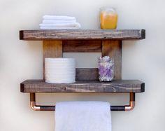 Recuperada madera cobre barra doble toalla estante baño