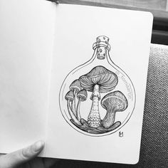 Mushrooms by Maartje Illustration Art Drawing, Ink Illustrations, Art Drawings Sketches, Tattoo Drawings, Flower Drawings, Simple Illustration, Black And White Illustration, Mushroom Drawing, Mushroom Art
