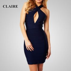 >> Click to Buy << Claire 2015 Autumn Dark Blue Halter Sleeveless Thick Sexy Ladies Bodycon Elegant Party Rayon Dress Womans HL Bandage Dresses 177 #Affiliate