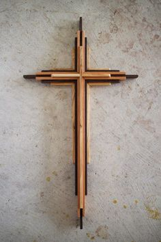 Wooden Cross  Spanish Cedar Wenge and Olivewood by shanedennehey
