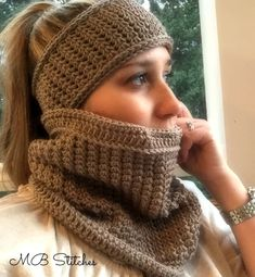 Madison Cowl and Headband – MB Stitches – Tammie Droppleman - Crochet Bandeau Crochet, Crochet Headband Pattern, Crochet Beanie, Knitted Hats, Crochet Patterns, Crochet Hats, Crochet Headbands, Crochet Ideas, Knit Headband