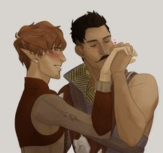 Pavellan: Dorian with an Elf-Inquisitor