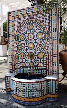 Mosaic Fountain – Page 2 – Moroccan Tiles Los Angeles Moroccan Design, Moroccan Tiles, Moroccan Decor, Outdoor Wall Fountains, Outdoor Walls, Outdoor Living, Water Wall Fountain, Dressing Design, Garden Wall Designs