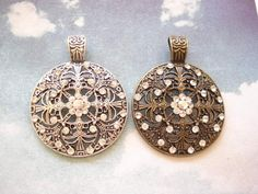 2 Filigree Big Antiqued Bronze /Silver Tone Charm Pendent with Rhinestones by yooounique on Etsy