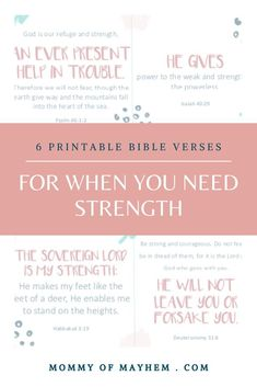 Jul 28, 2020 - If you're feeling weary and weak today, read this devotional about how God strengthens us. For moms who need extra strength: 6 printable memory verse cards. Bible Verses For Hard Times, Bible Verses About Strength, Verses For Cards, Prayer For You, Daily Prayer, Printable Bible Verses, Scripture Verses, Gods Strength, All About Mom