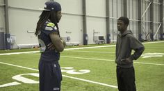 """This is """"NFL Characters Unite: Tevin Meets Richard Sherman"""" by THE Company on Vimeo, the home for high quality videos and the people who love them. Seahawks Football, Football Love, Best Football Team, Seattle Seahawks, Richard Sherman, Andrew Luck, Russell Wilson, Best Fan, 12th Man"""