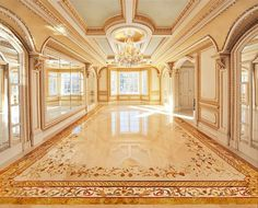 Stone flooring created by Creative Edge, over 40,000 pieces, 2400 sq.ft., in NJ, Le Chateau Grand.