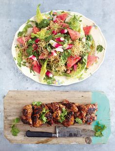 Sticky Kicking Chicken, Watermelon Radish Salad and Crunchy Noodles - The Happy Foodie