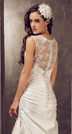 Trumpet/Mermaid Wedding Dress Sweep/Brush Satin and Lace Jewel with Beading Appliques