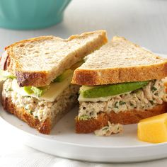 Cilantro-Avocado Tuna Salad Sandwiches Recipe -Lime juice and cilantro in tuna salad – who knew? This recipe came to me as a way to have a protein-packed meal with lots of pizzazz. —Heather Waldorf, Black Mountain, North Carolina