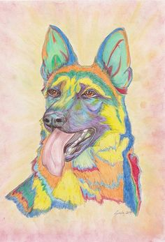 Multi coloured GERMAN SHEPHERD Print - 25x20cm - Colourful - Alsation Gaurd dog - Canine - Present - Beauceron Dog, Gaurd Dogs, Dog Portraits, Animal Design, I Shop, Original Paintings, German, Presents