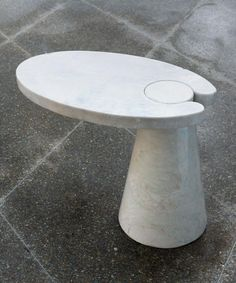 Cone Cantilever White Marble Side Table