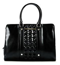 wardow.com - Versace Jeans,Handtasche schwarz 38 cm - #Halloween, passt perfekt zu jeder dunklen Gestalt, dank schwarzer Lack-Optik