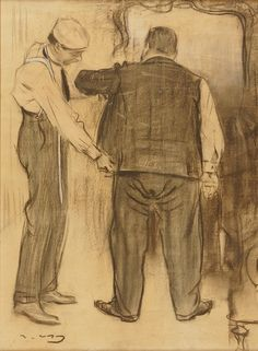 Ramón Casas i Carbo (1866-1932)...taking the all important measurements at the tailors...however, those trousers look rather baggy at the seat, I'd say...