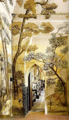 French company, Ananbo, combines traditional landscape painting and new printing techniques to create an extensive collection of wallpaper murals inspired by ancient elements. The decorations are hand painted, scanned and printed on non-woven paper. Interior Inspiration, Design Inspiration, Wall Treatments, Mellow Yellow, Wall Wallpaper, Painted Wallpaper, Zuber Wallpaper, Architecture, Interior And Exterior