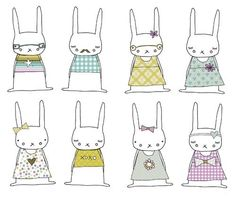 Bunnies from gingerandgeorge cute lapin style graphic illustrations Easter Crafts, Crafts For Kids, Diy Crafts, Toys Drawing, Year Of The Rabbit, Bunny Party, Diy Ostern, Pattern Illustration, Rabbit Illustration